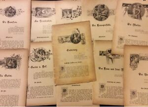 Antique-Book-Prints-German-Set-of-11-Housekeeping-amp-Domestic
