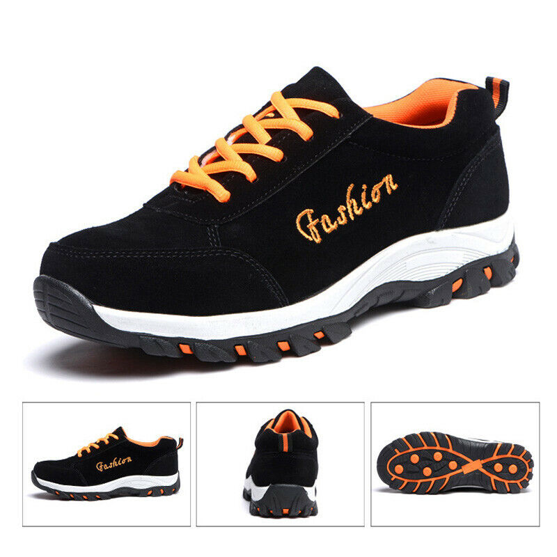 Safety shoes Men's suede Cowhide Work lace up Boots Leather Steel Toe Breathable
