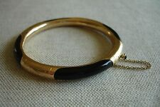 Vintage Asian Chinese Black Onyx 14K Gold Filigree Bangle Estate Bracelet