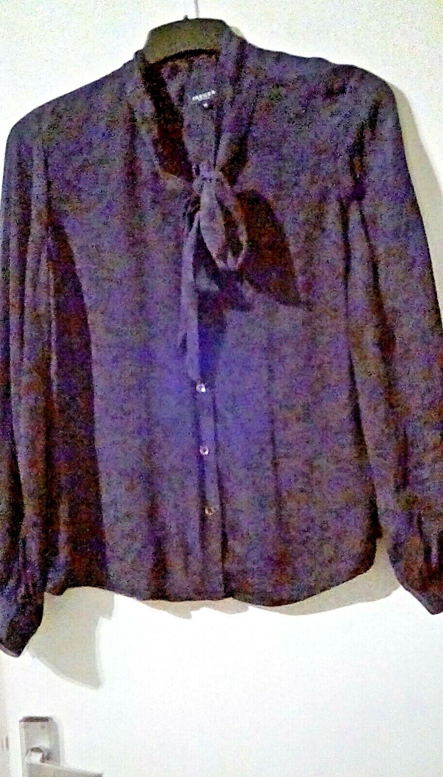 Pure Washed Silk Jaeger Back Blau Animal Print Classic tie neck Blouse sz14.
