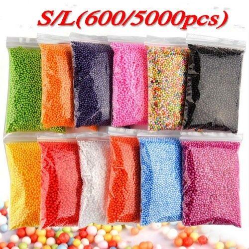 Childs DIY Gift Polystyrene Styrofoam Foam Slime Beads Assorted Balls Crafts New