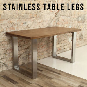 Genial Image Is Loading 2 X STAINLESS STEEL Table Legs Designer Industrial