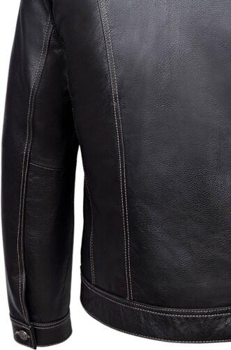 TRUCKER Men/'s BROWN HIDE Classic Western Real Cowhide Leather Jacket 1280