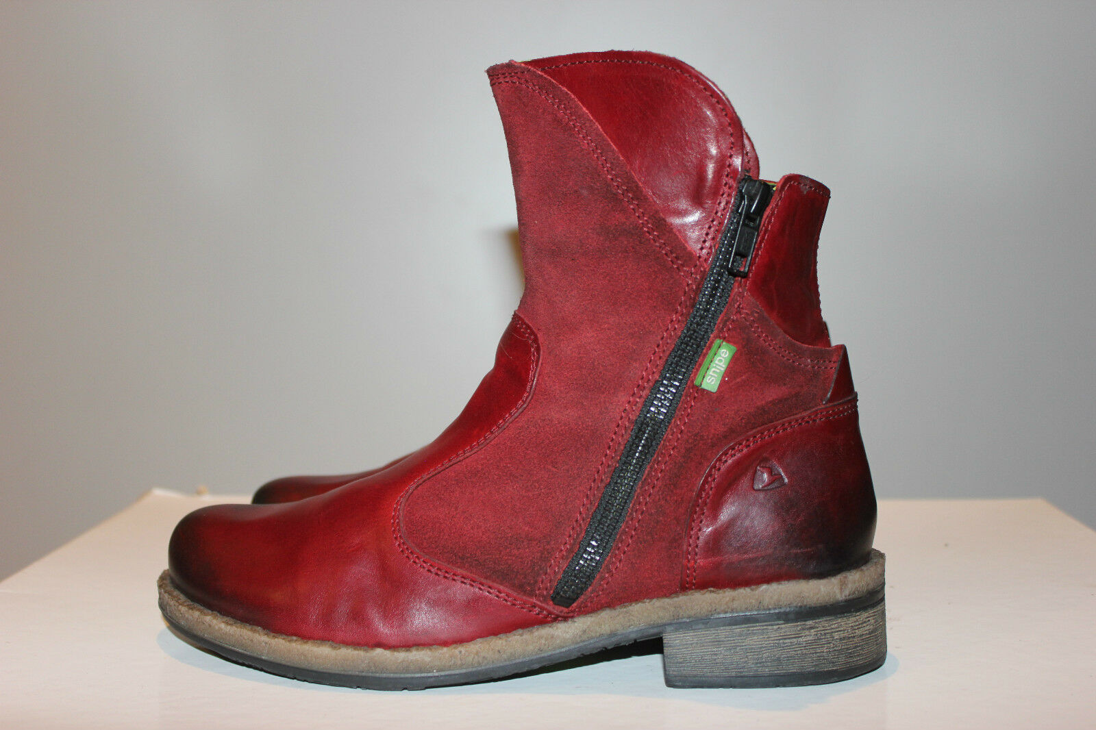 Snipe Super Beautiful Red Real Leather Biker Boots, Size 38, Excellent Condition