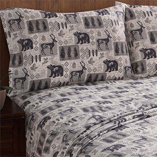 New Remington FULL Sheet Set Bear Deer Buck Lodge Cabin Rustic Hunting Moose 4pc