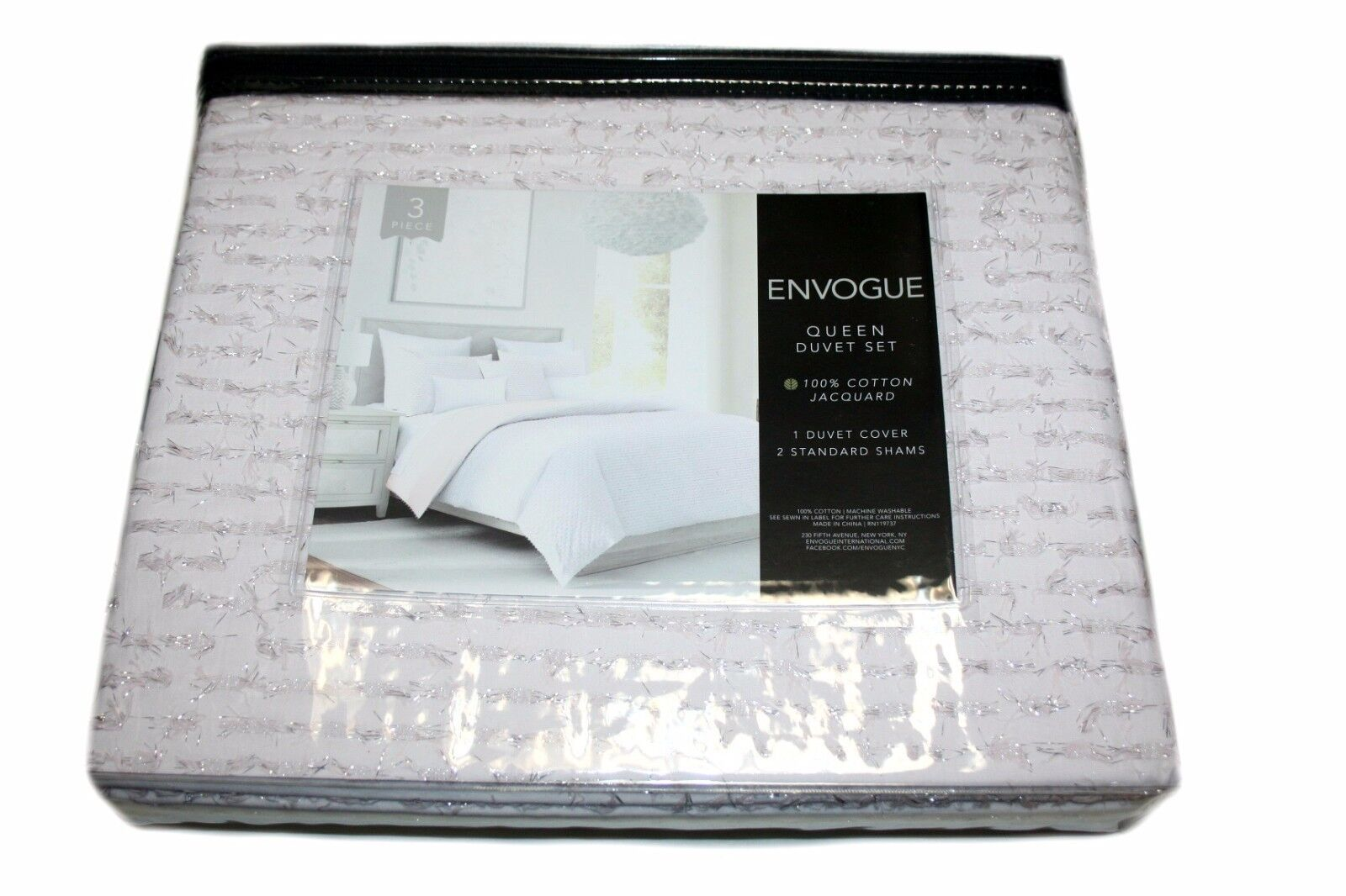 Envogue 100% Cotton 3 Piece Queen Duvet Set, color  bluesh, Metallic
