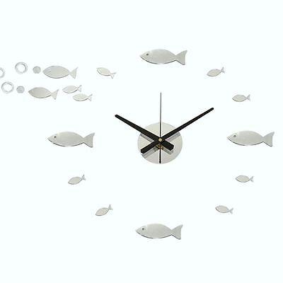 Horloge murale Poissons (Rahmenlos) avec miroir Analogue Horloge déco