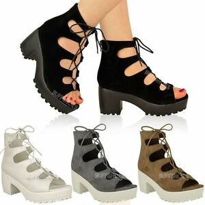 Womens Ladies Chunky Mid Heel Platform Lace Up Cut Out Caged ...