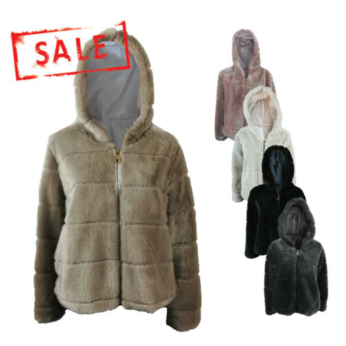 NEW Women Ladies Fashion Acrylic Faux Fur Fleece Warm Coat Jacket Hood UK