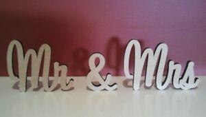 Medium size freestanding wooden words Mr & Mrs sign 10cm tall
