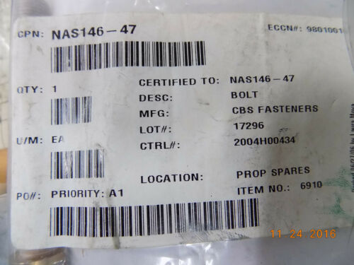 NEW Cessna Part No NAS146-47 Bolt Internal Wrenching in Factory Packaging