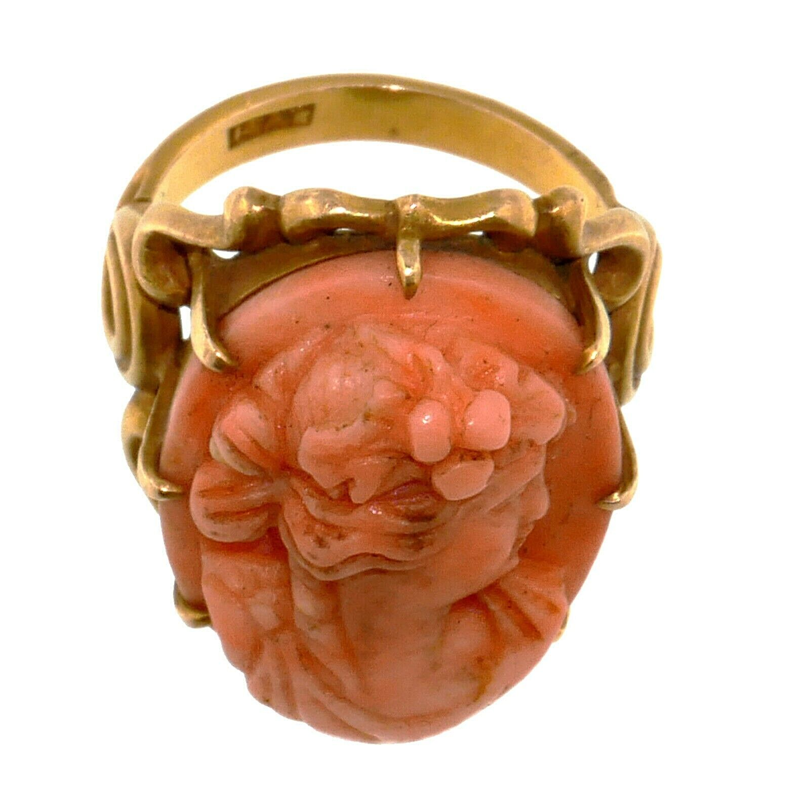 (1827) Antique gold ring with coral cameo