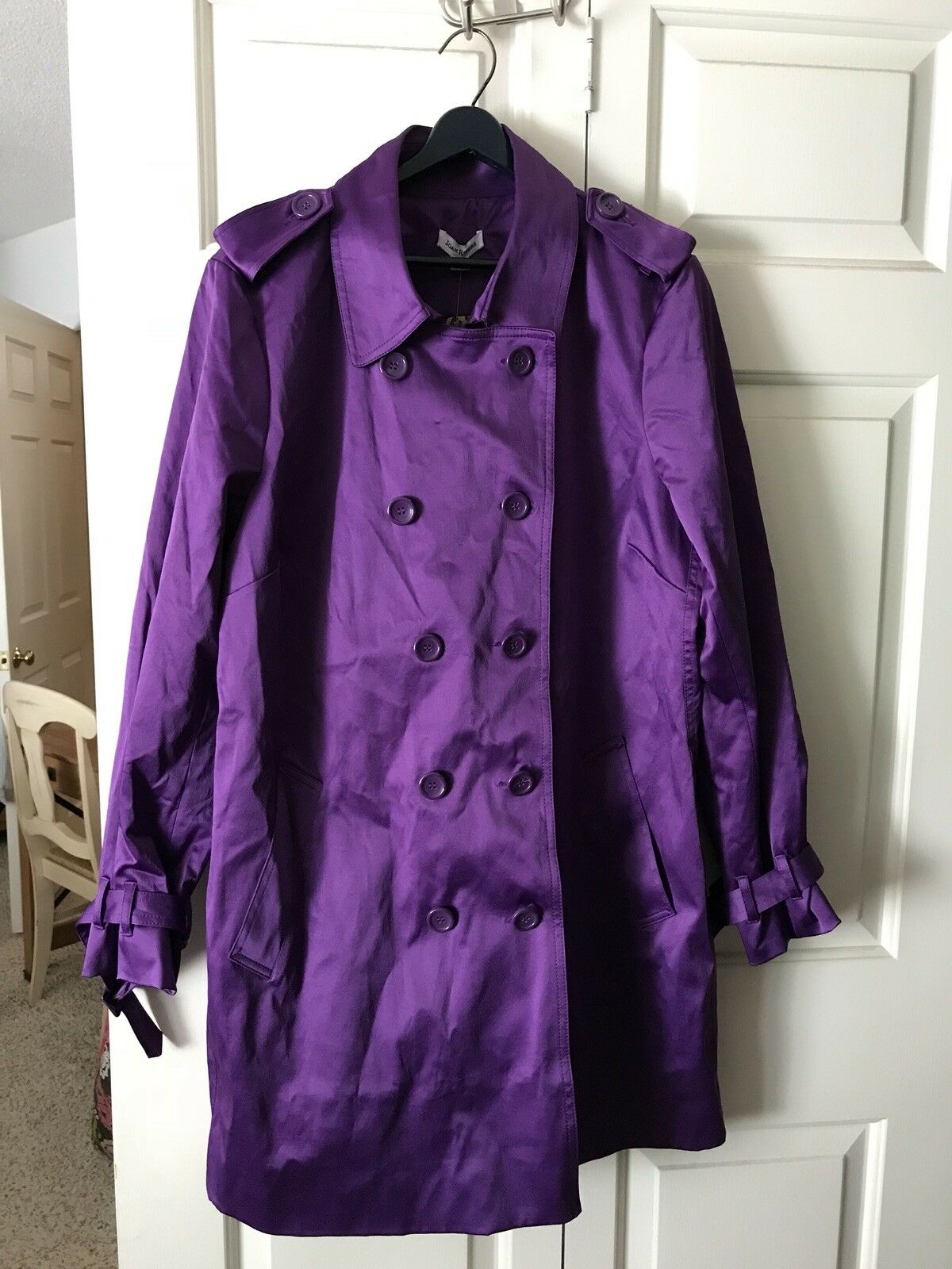 Joan Rivers The New Classic Trench Coat Purple Cheetah Lining Size XL QVC New