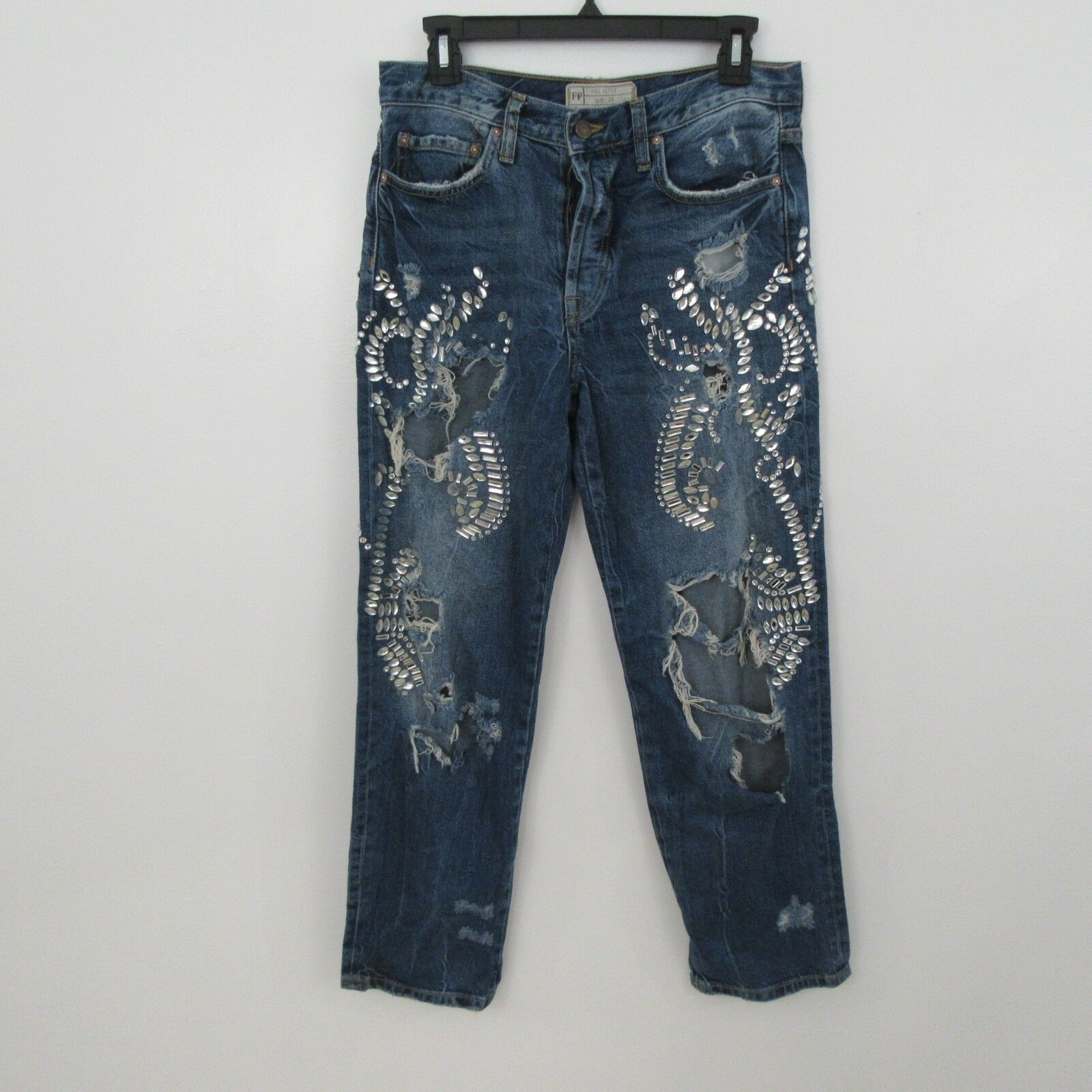 Free People Rhinestone Embellished Distressed Destroyed Relaxed Jeans 26