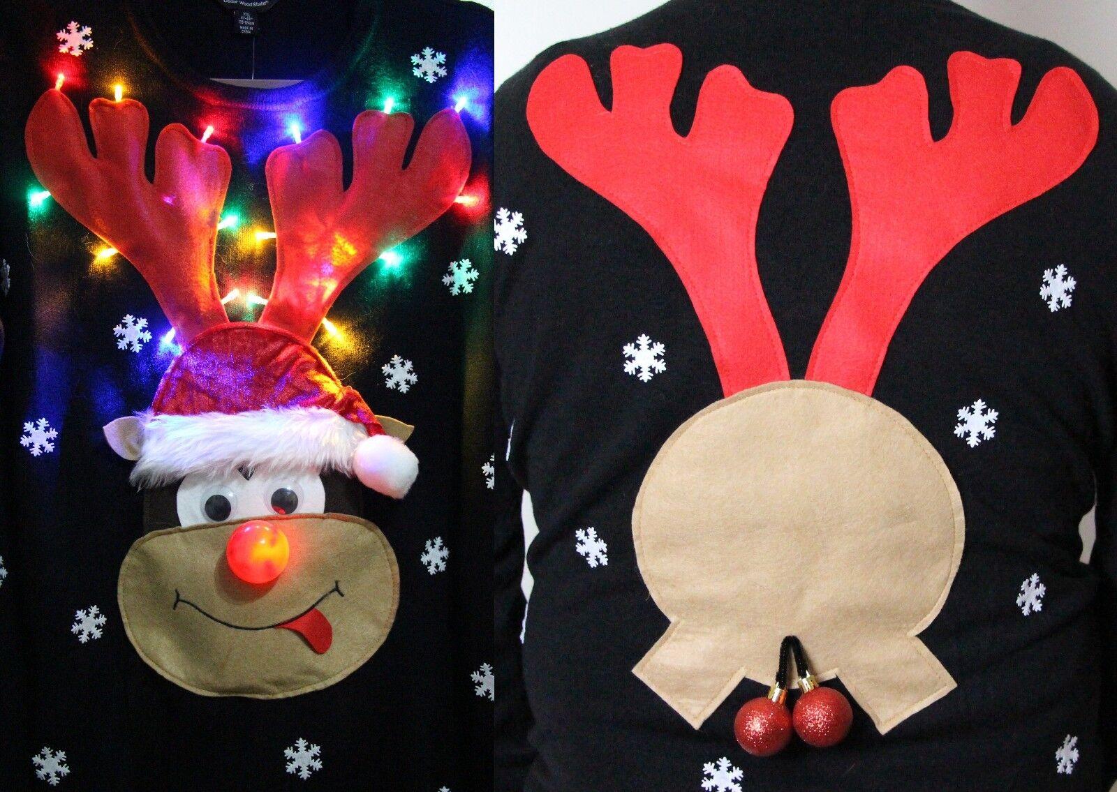 Handmade Christmas Jumper, Flashing light, nose, music, männer groß, XL, XXL damänner