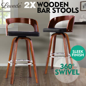 2x Wooden Bar Stools Swivel Barstool Kitchen Dining Chairs Wood Black 615517369825