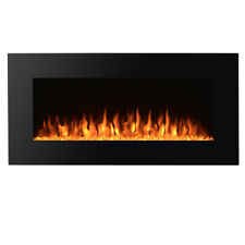 "Heat Adjustable 36"" Wall Mount Electric Fireplace MultiColor LED Backlight"