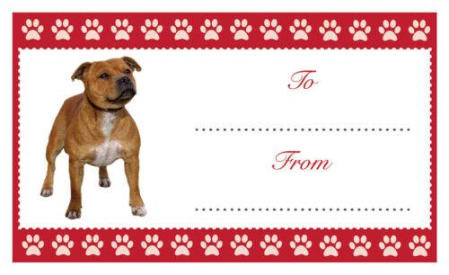 Staffy Dog Noël Anniversaire Cadeau Étiquettes Autocollant Chien Pet Lover