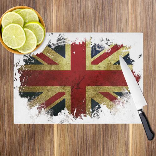 Details about  /Union Jack UK Grunge Glass Chopping Board Kitchen Worktop Saver