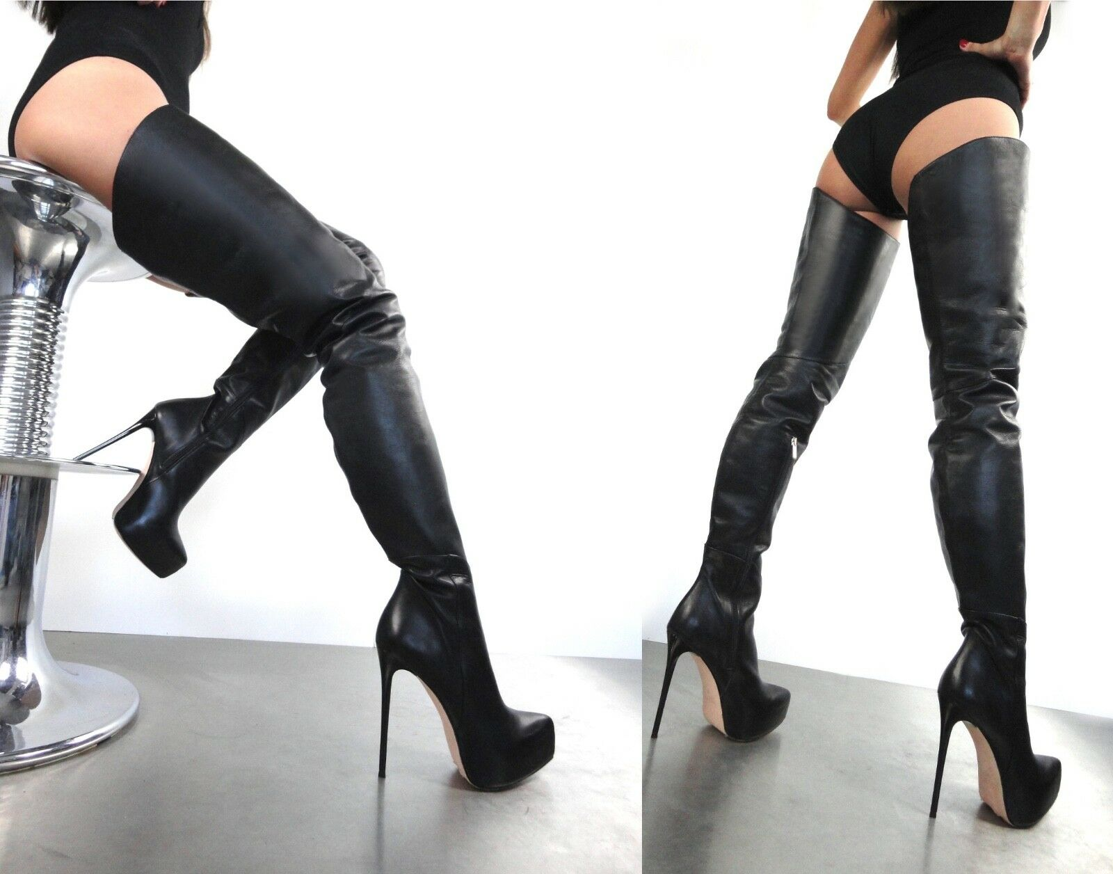 CQ COUTURE PLATFORM CUSTOM OVERKNEE BOOTS STIEFEL BOOTS LEATHER BLACK BLACK 44
