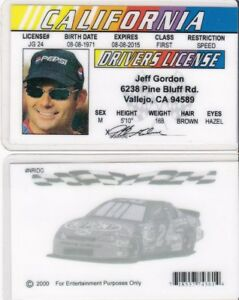 California-Nascar-Legend-JEFF-GORDON-Drivers-License-FAKE-ID-card