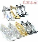 Women's Sexy Bridal Rhinestone Strappy High Heel Evening Sandal Shoes Size 5 -10
