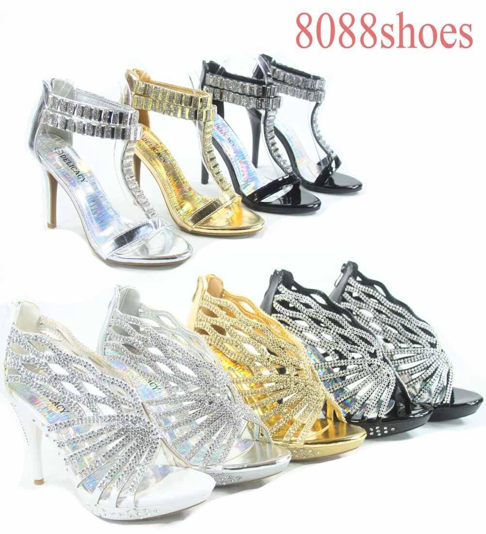 Women's Sexy Heel Bridal Rhinestone Strappy High Heel Sexy Evening Sandal Shoes Size 5 -10 0204f4