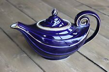 Excellent Vintage Hall Pottery 6 Cup Tea Pot Cobalt Blue Art Deco Aladdin Genie