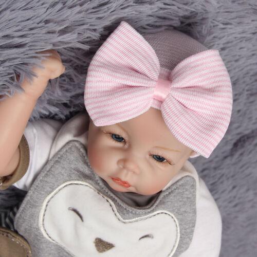 Baby Kinder Mädchen Strickmütze Schleife Beanie Hut Gestreift Elastisch Mützen