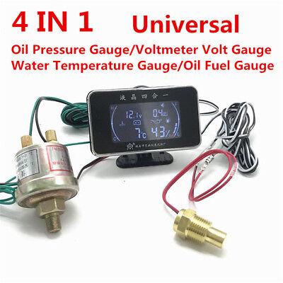 CUHAWUDBA 4-In-1 LCD Auto Digital LCD Instrument ?l Druck Anzeige Voltmeter Kraftstoff Anzeige Wasser Temperatur Anzeige Verbundene Uhr M10