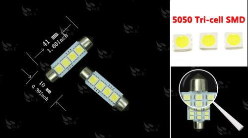 10PCS Xenon White 5050 4smd 41MM Festoon Car Dome Interior LED Light bulbs 12V