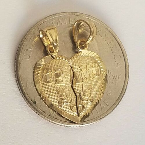 "10k real solid Yellow Gold 2 piece Te Amo Split Heart Pendant Charm .75/"" long"