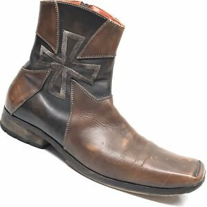 MARK-NASON-MADE-IN-ITALY-Large-Cross-Leather-Side-Zip-Men-039-s-Ankle-Boots-8-5