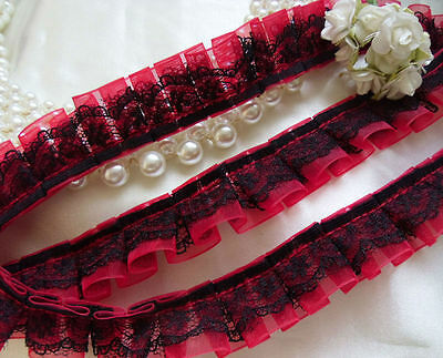 "3/4"" Box Pleated Ruffles Red / Black Organza Lace Trims-1.19 Yards (T322R)"