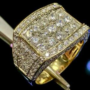 Men/'s 10K Yellow Gold Over Round Cut 3.00 Ct Diamond Engagement Band Pinky Ring