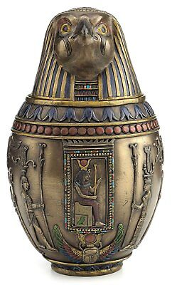 Egyptian Falcon God Horus Canopic Jar 22 oz Vessel Container