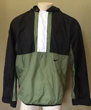 Vintage Nike Mens Black Green Full Zip Nylon Windbreaker Rain Jacket - D