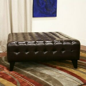 Astonishing Baxton Studio Pemberly Dark Brown Bonded Leather Square Ottoman Caraccident5 Cool Chair Designs And Ideas Caraccident5Info