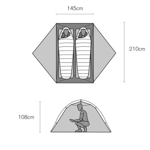 Portable 2-3 Person Tent Waterproof Camping Hiking Tent Sheet UV Sun Protection