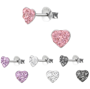 Girls-Ladies-925-Sterling-Silver-Crystal-Heart-Stud-Earrings-5mm-Pair-Boxed