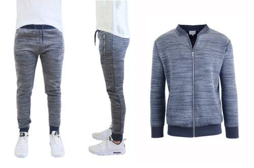 Mens Marled Tech Fleece Stretch Sweater Jacket /& Jogger Set Slim Fit Gym Active