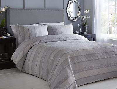 Möbel & Wohnen Bettwaren, -wäsche & Matratzen Unter Der Voraussetzung Jacquard Texturiert Geometrisch Streifen Grau Weiß Doppelbett Bettwäsche