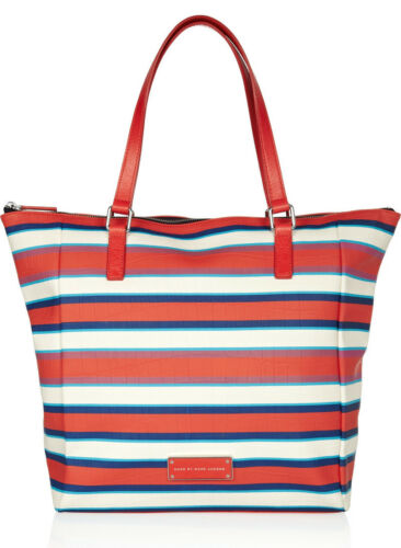 NWT MARC BY MARC JACOBS Take Me Jacobson Coral Red Striped PVCLeather Tote Bag