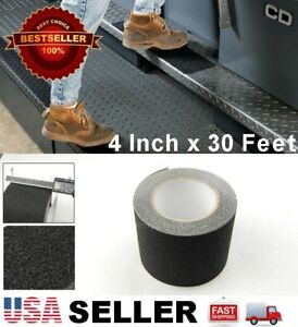 "4"" x 30' Black Anti Skid Non-Slip Black Mineral Abrasive Safety Step Tape ""USA"""