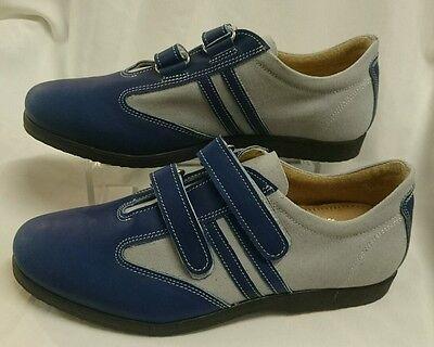 Herren SCHUHE Sneakers Turnschuhe NEU GR 45 Blau LEDER Made in Italy