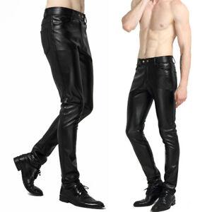 11231b92 Men's Faux Leather Trousers Wet Look Motorcycle Biker Pants Slim Fit ...