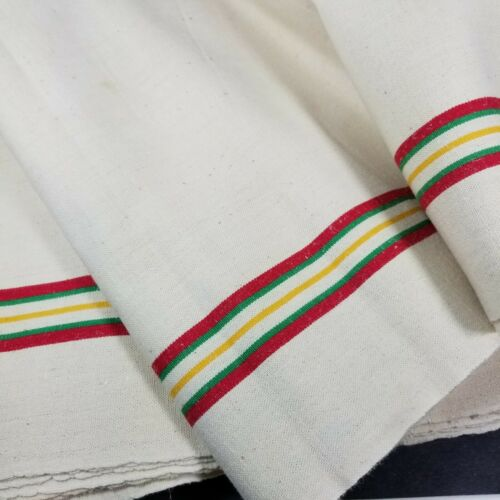 Vintage French Tea Towel Fabric  Linen Farmhouse Cottage Stripe Sold by Yard