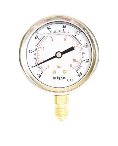 Manómetro Glicerina Llenado compuesto de presión 63mm -1/+10 Bar - 30*Hg/+150 Psi