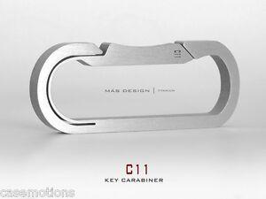 Mas-Design-Premium-Grade-5-Titanium-Key-Carabiner-C11-Stone-Tumbled-Finish