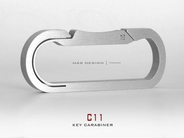 Mas Design Premium Grade 5 Titanium Key Carabiner - C11Stone Tumbled Finish